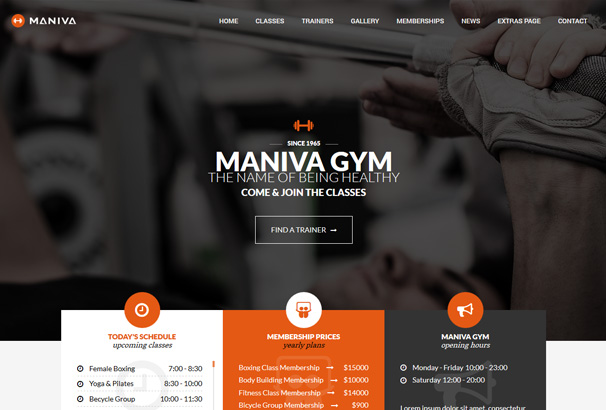 health club wordpress template  35  Best WordPress Fitness Themes for Gyms Personal Trainers ...