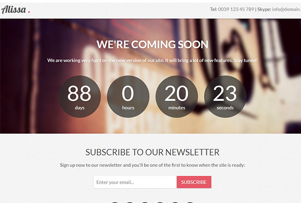 Alissa – Coming Soon WordPress Theme