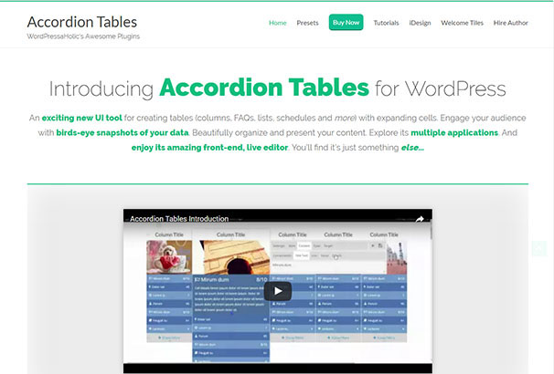 Wordpress Accordion Table Plugin