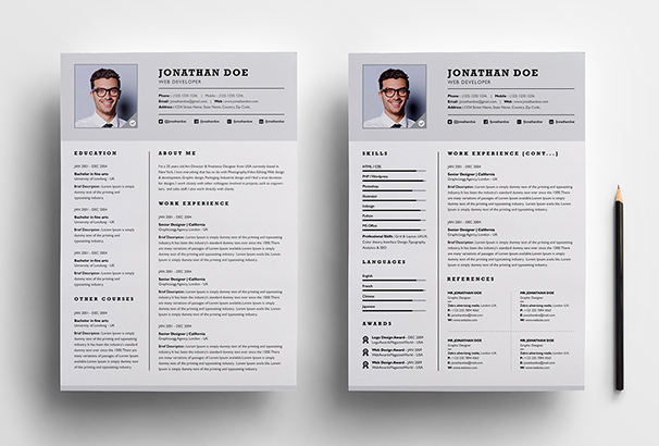 professional-two-page-resume-set