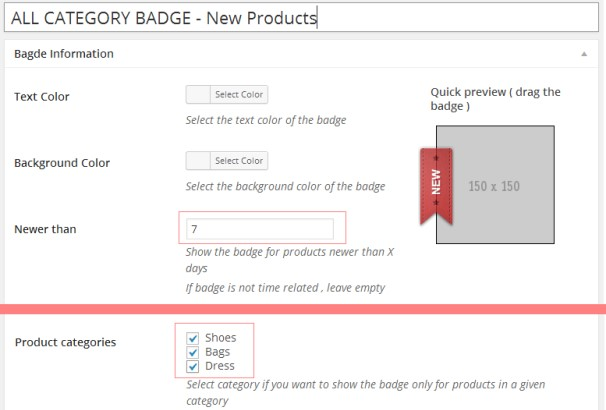 woocommerce-products-badge-management