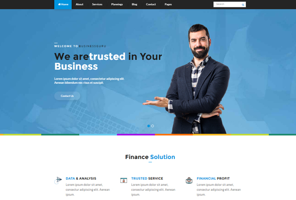 50 best html financial website templates 2017 finance guru is a clean and modern template which will help your business build a stronger online presence in style wajeb Image collections