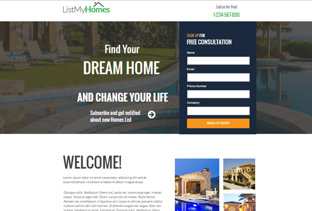 Homes Realestate Instapage Landing Page
