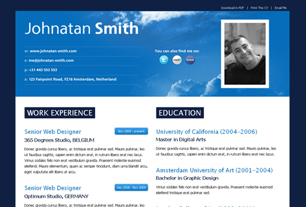 50 Best HTML CV Resume Templates to Download 2017