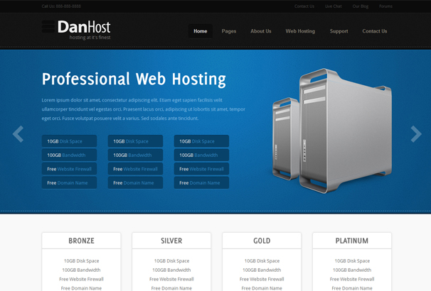 HTML Web Hosting Website Templates - Website front page template