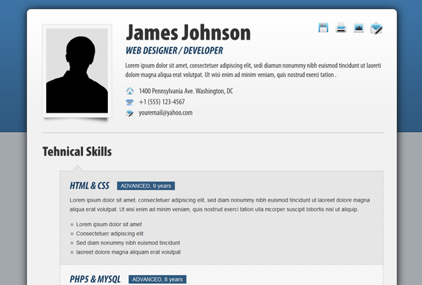 Fancy Resume/ CV Is A Responsive HTML Template That Showcases Your  Abilities To Your Potential Employers In Style.  Resume Html Template