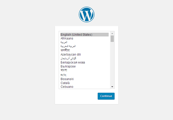 WordPress Installer - Language